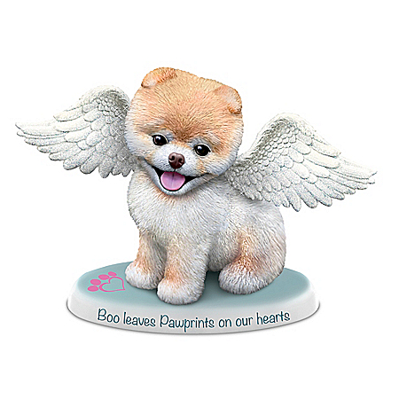 Boo Leaves Paw Prints On Our Hearts Hand-Painted Pomeranian Figurine