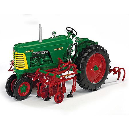 Oliver Super 77 Diesel NF Diecast Tractor & 2 Row Cultivator