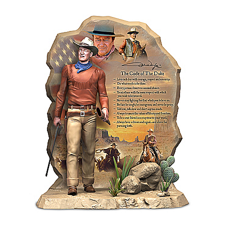 The Code Of The Duke Hand-Painted John Wayne Sculpture