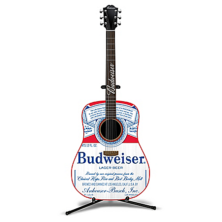 Budweiser Six String Guitar Sculpture With Real Strings