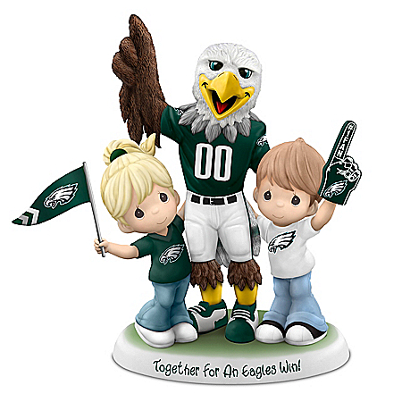 Precious Moments Porcelain Couple With Eagles Mascot