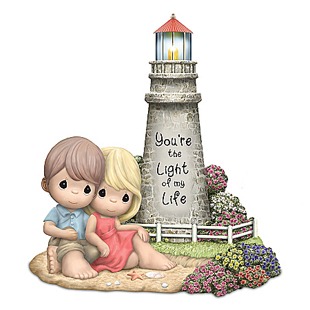 Precious Moments Porcelain Lighthouse Figurine Lights Up