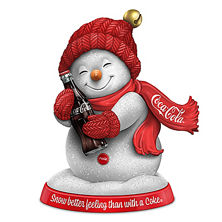 COCA-COLA Snowman Figurine With Real Jingle Bell