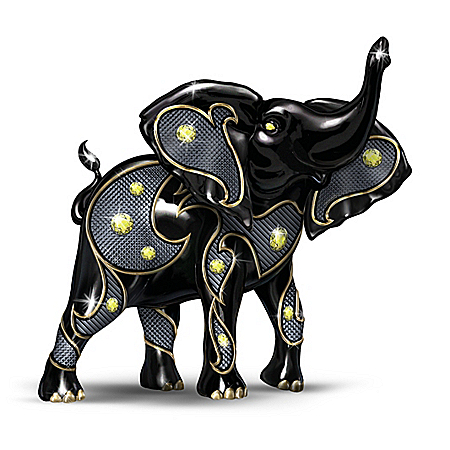 Keith Mallett Power Of The Citrine Black Elephant Figurine