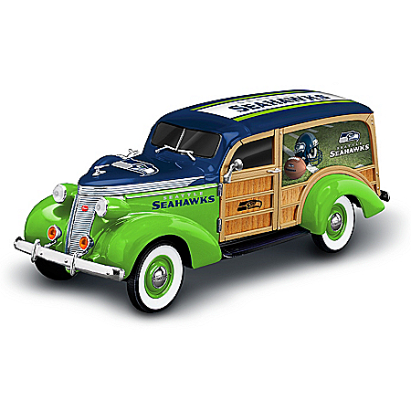 Seattle Seahawks 1937 Woody Wagon Sculpture