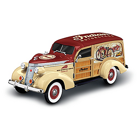 1:18-Scale Indian Motorcycle 1937 Woody Wagon Sculpture