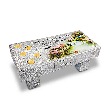 Personalized Illuminated Pet Remembrance Bench Sculpture