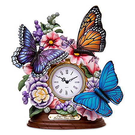 Lena Liu Remembrance Butterfly Mantel Clock
