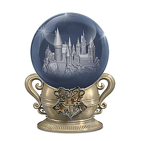 Laser-Etched Glass Orb Lights Up With HOGWARTS House Colors