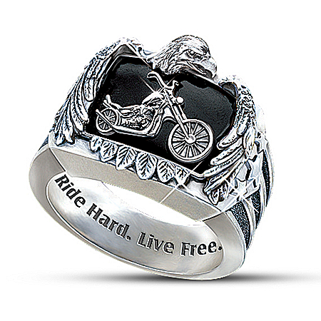 Ride Hard, Live Free Men's Biker Ring