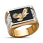 Wings Of Glory Mens 24K Gold-Plated and Sterling Silver Bald Eagle Ring