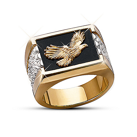 Wings Of Glory Men's 24K Gold-Plated and Sterling Silver Bald Eagle Ring