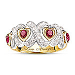 Engraved Hearts And Kisses Ruby And Diamond Ring Romantic Jewelry Gift For Her Romantic Gifts for Her