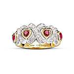 Engraved Hearts And Kisses Ruby And Diamond Ring Romantic Jewelry Gift For Her
