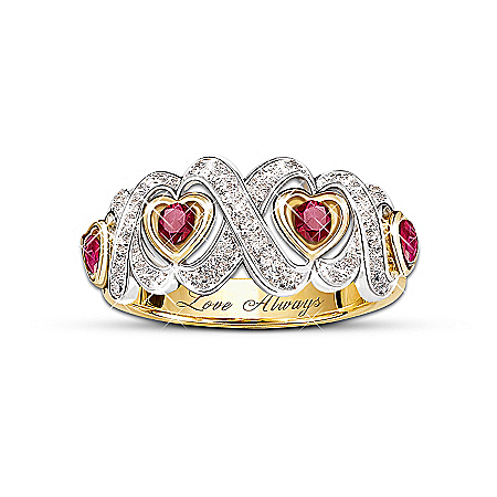 Hearts And Kisses Engraved Ruby And Diamond Ring