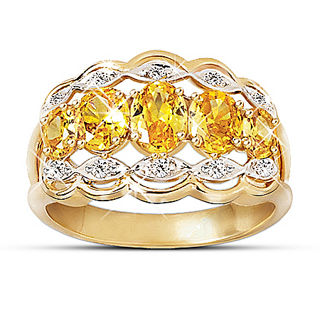 Dazzling Fire Yellow Sapphire And Diamond Ring