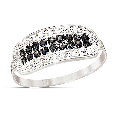 5th Avenue Black & White Diamond Ring With Rare Black Diamonds: Jewelry Gift For Her
