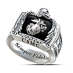 Sterling Silver USMC Ring: USMC Gift For Marines