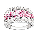 Starlight Elegance Pink Topaz & Diamond Ring: Unique Jewelry Gift For Her