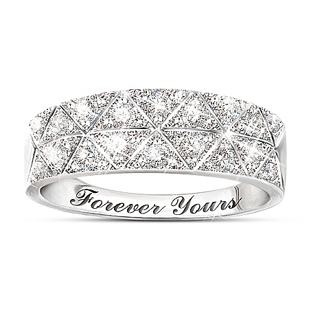10K White Gold Diamond Radiance Ring: Unique Jewelry Gift For Her