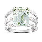 Triple Band Sheer Radiance Green Amethyst & Diamond Ring With Pave Setting