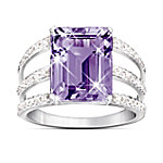 Triple Band Timeless Radiance Purple Amethyst & Diamond Ring With Pave Setting