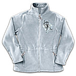 Wolf Decor Women's Fleece Jacket With Wolf Art: Spirit Of The Wilderness