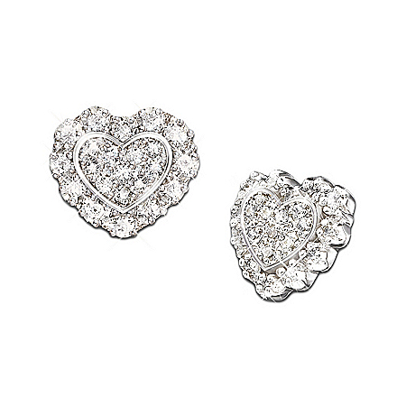 Hearts Of Love Heart Shaped Diamond Earrings: Romantic Gift For Her