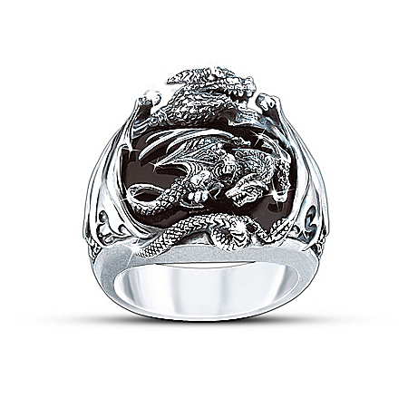 Photo of Realm Of The Dragon Sterling Silver Ring: Men's Fantasy Jewelry by The Bradford Exchange Online