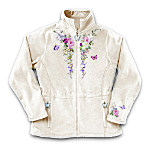 Lena Liu Gardens Perfection Womens Fleece Jacket With Floral Embroidery: Unique Garden Lover Gift