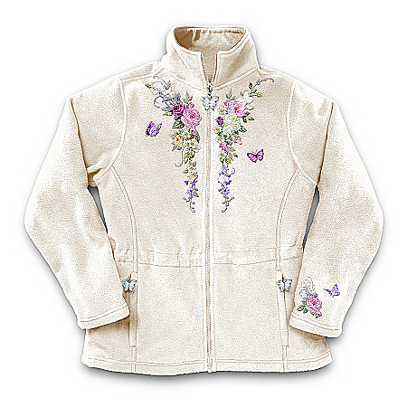 Lena Liu Plates Lena Liu Garden's Perfection Women's Fleece Jacket With Floral Embroidery: Unique Garden Lover Gift