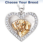 Labrador Retriever Engraved Heart-Shaped Pendant Necklace