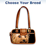 Shih Tzu Faithful Friend Leather-Trimmed Handbag