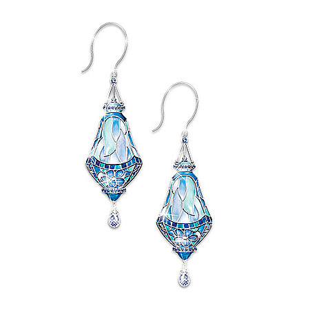 The Era Of Louis Comfort Tiffany Style Stained Glass Earrings: Jewelry Gift For Her