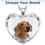 Heart-Shaped Crystal Dog Pendant Necklace