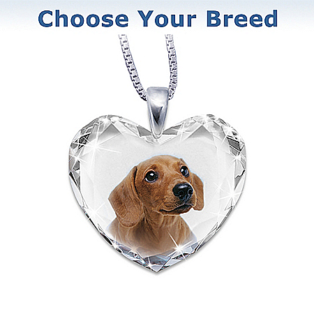 Heart-Shaped Crystal Golden Retriever Close To My Heart Pendant