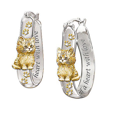 Cats Fill A Heart With Love Engraved Sterling Silver Earrings: Cat Lover Jewelry by The Bradford Exchange Online - Lovely Exchange