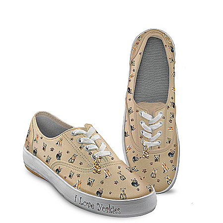 Photo of Choose Your Breed Dog Art Women's Sneakers: Playful Pups by The Bradford Exchange Online