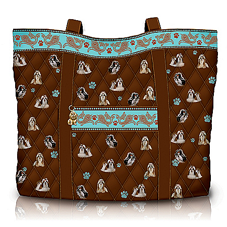 Faithful Friend Quilted Dog Breed Tote Bag