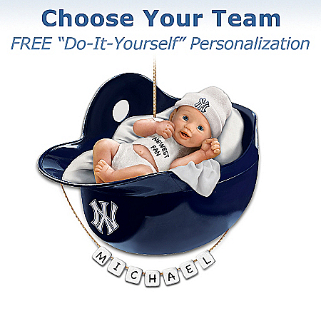 Photo of Officially Licensed Major League Baseball Personalized Baby's First Christmas Ornament by The Bradford Exchange Online