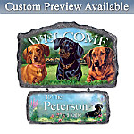 Linda Picken Dog Art Personalized Welcome Sign Wall Decor