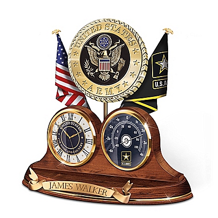 Military Personalized Thermometer Clock With Custom Engraving