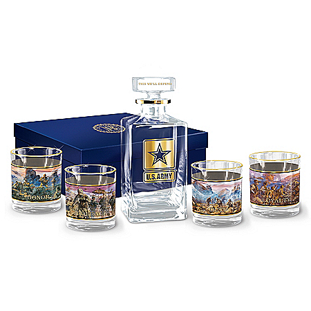 U.S. Military Patriotic Glass Decanter Set by The Bradford Exchange Online - Lovely Exchange