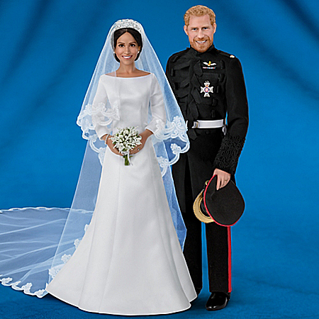 Meghan Markle And Prince Harry Royal Romance Porcelain Wedding Dolls by The Bradford Exchange Online - Lovely Exchange