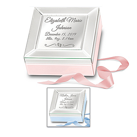 Baby Blessings Personalized Mirrored Glass Music Box