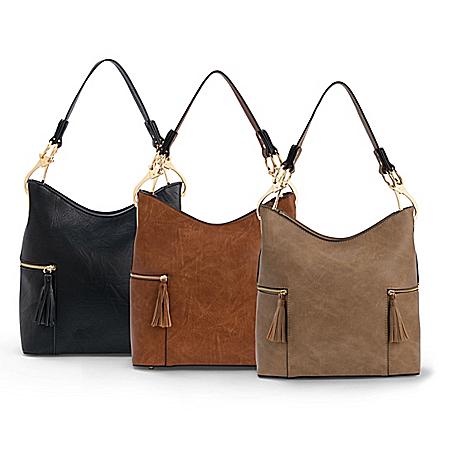 Rochelle Designer-Style Faux Leather Handbag In 4 Colors