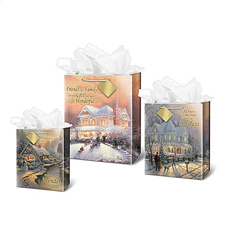 Thomas Kinkade Christmas Art Gift Bags: Choose Your Set