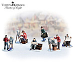 Thomas Kinkade Painter of Light Collectible Village Accessory Figurine Set