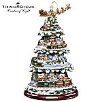 Thomas Kinkade Animated Tabletop Christmas Tree With Train: Wonderland Express