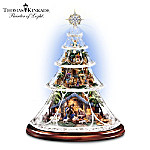 Thomas Kinkade Light-Up Musical Crystal Tabletop Nativity Tree: Reflections Of Peace